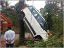 Car tries to climb tree in Venur