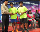 Tulu Koota Qatar felicitates ace swimmer Gopal Karvi during Karnataka Inter-Association Badminton To