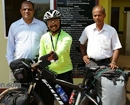 Udupi: Vishwasadamane welcomes cyclist Sachin Gaonkar on nationwide tour