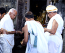 Kar CM B S Yediyurappa visits Dharmasthala; instructs officials to help flood-victims