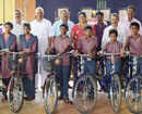 Udupi: State provided bicycles distributed to students of Hindu High School, Shirva