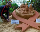 Udupi: Sand sculptors create sculpture at Padubidri Beach on World Environment Day