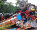 Karkal: Truck turns turtle near Belman; driver/cleaner survive miraculously
